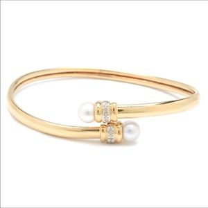 10K Diamond Pearl Bypass Bangle Bracelet